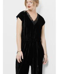 Violeta by Mango - Black Textured Velvet Jumpsuit - Lyst
