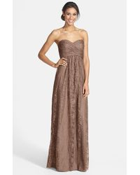 Amsale Pink Pleated Lace Sweetheart Strapless Gown