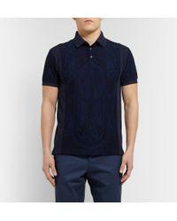 Etro - Blue Paisley-Print Cotton-Piquã© Polo Shirt for Men - Lyst