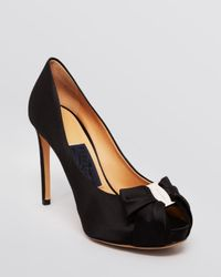 Ferragamo - Black Pianka High Heel Peep Toe Platform Evening Pumps  - Lyst
