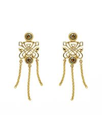 Biba Metallic Gold Chain Drop Emblem Earrings