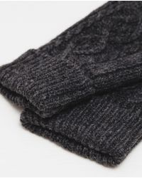 Zara | Gray Aran Knit Gloves for Men | Lyst