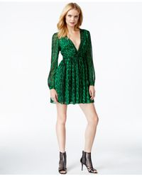 Michael Kors | Green Michael V-neck Animal-print Mini Dress | Lyst