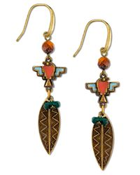 Tru. - Metallic Gold-tone Multicolor Feather Drop Earrings - Lyst