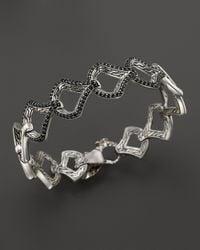 John Hardy Metallic Sterling Silver & 18k Gold Naga Medium Scale Lava Link Bracelet With Black Sapphires