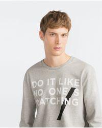 Zara | Gray Text Sweatshirt for Men | Lyst