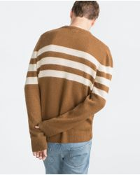 Zara | Natural Striped Sweater for Men | Lyst