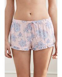 Forever 21 Blue Ruffled Floral Pj Shorts
