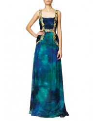 Matthew Williamson | Blue Sapphire Patina Galaxy Embroidered Ruched Gown | Lyst