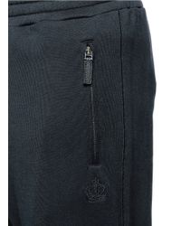 Dolce & Gabbana Blue Crown Embroidery Jogging Pants for men
