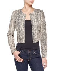 Bagatelle - Black Cropped Snake-print Jacket - Lyst