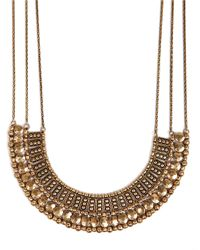 Lucky Brand | Metallic Goldtone Textured Bead Collar Necklace | Lyst