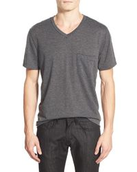 7 For All Mankind - Gray Raw Edge V-neck T-shirt for Men - Lyst