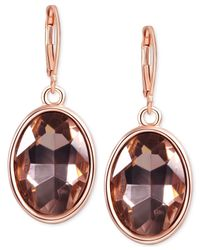 T Tahari | Pink Rose Gold-tone Light Peach Oval Stone Drop Earrings | Lyst