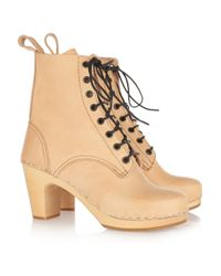 Swedish Hasbeens Natural Grandma Leather Lace-up Boots