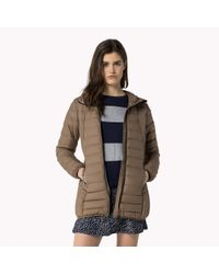 Tommy Hilfiger | Brown Down Quilted Coat | Lyst
