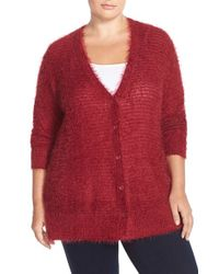 Sejour | Red 'happy' Eyelash Yarn V-neck Cardigan | Lyst