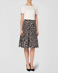 Jaeger Black Silk Pebble Print Skirt