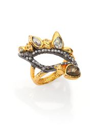Alexis Bittar | Metallic Elements Phoenix Pyrite & Crystal Leaf Ring | Lyst