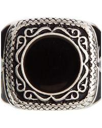 ASOS - Black Signet Ring with Enamel for Men - Lyst