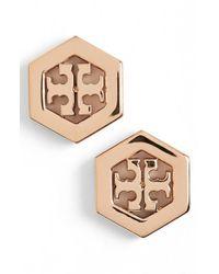 Tory Burch - Metallic Logo Hexagon Stud Earrings - Lyst