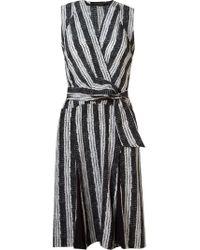 Giuliana Romanno Black Abstract Print Wrap Midi Dress
