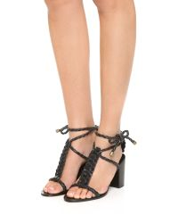 Zimmermann - Black Link Weave Tie Heel Sandals - Lyst