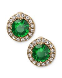 Lauren by Ralph Lauren | Green 14k Goldplated Round Faceted Emerald Glass Stone Stud Earrings | Lyst