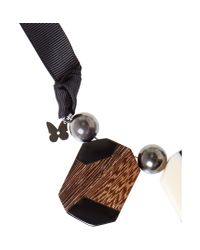 Max Mara - Black Elda Wood Necklace - Lyst