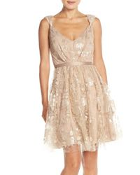 Vera Wang Pink Sequin-Embellished Lace Dress
