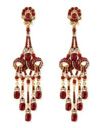 Jose & Maria Barrera - Metallic Gold-plated Red Crystal Chandelier Clip-on Earrings - Lyst