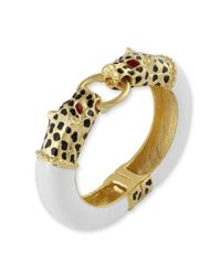 Kenneth Jay Lane - White Leopard Head Bracelet - Lyst