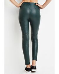 Forever 21 - Green Faux Leather Leggings - Lyst