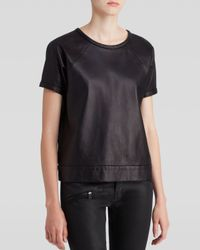 Rag & Bone - Black Sweatshirt Rocky Leather - Lyst