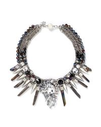 Assad Mounser | Metallic Multi Chain Crystal And Spike Necklace | Lyst