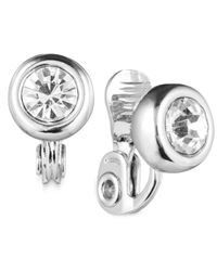 Anne Klein | Metallic Silver-tone Crystal Clip-on Earrings | Lyst