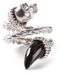Alexander McQueen - Metallic Wrap Around Skull Ring - Lyst