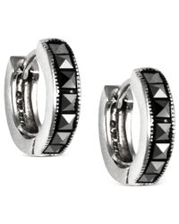 Judith Jack | Black Sterling-silver Marcasite Studded Hoop Earrings | Lyst