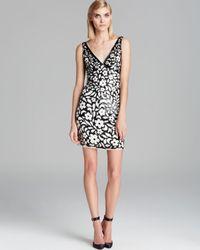 Aidan Mattox Black Dress - Double V Neck Floral Sequin