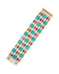 Lucky Brand | Metallic Goldtone Turquoise and Epoxy Stone Flex Bracelet | Lyst