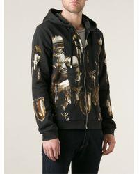 Dolce & Gabbana Black Medieval Armour Print Zip Hoodie for men