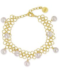 Majorica | Metallic Gold-tone Organic Man-made Pearl Chain Link Bracelet | Lyst