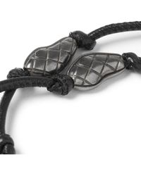 Bottega Veneta Black Silver And Leather Bracelet for men