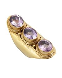 Soixante Neuf - Purple Amethyst And Gold Triple Stone Ring - Lyst