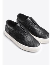 Vince - White Nelson Python Embossed Leather Sneaker - Lyst