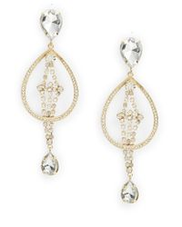 R.j. Graziano | Metallic Rhinestone Teardrop Earrings | Lyst