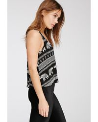 Forever 21 - Black Elephant Print Trapeze Top - Lyst