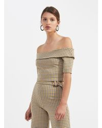 7117e4525ba50 Miss Selfridge Checked Fold Over Bardot Top in Brown - Lyst