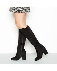 Faith Black Faux-suede Knee High Boots