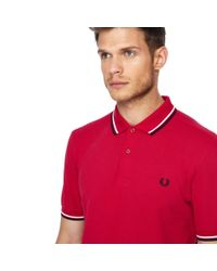 Fred Perry Pink Tipped Collar Polo Shirt for men